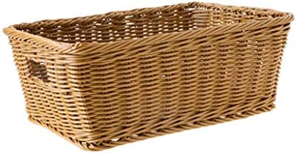 WJMLS バスケットストレージバスケット模倣ラタンプラスチック編みのおもちゃLiveing浴室ストレージ