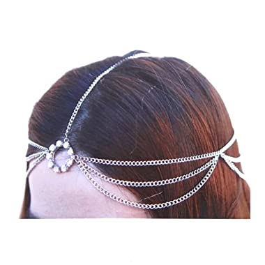 Silvertone Head Chain Accented w Rhinestones Hair Band (S IHC1001-SIL)