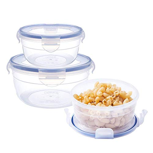 [3-Pack] Plastic Meal Prep Food Storage Containers (10.1+20.3+35.5oz), Round Mixing and Prep Bowls, BPA Free Airtight Snap Locking Lid, Freezer Microwave Safe