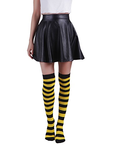 Women's Extra Long Striped Socks Over Knee High Opaque Stockings (Black & Yellow)