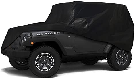 OOFIT 5-Ply Heavy Duty Car Cab Cover Custom Fit 2007-2018 Jeep Wrangler Unlimited 4-Door Non-Woven Fabric Car Cover Over Installed Top Dustproof Breathable Waterproof
