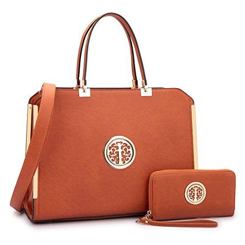 Dasein Women's Large Structured Designer Satchel Handbag Matching Wallet Work Bag With Shoulder Strap (Brown)