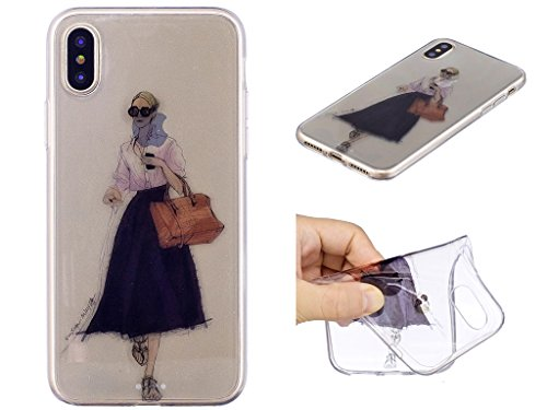 iPhone X Coque , Leiai Mode Fille Ultra-mince Transparent Silicone Doux TPU Housse Gel Etui Case Cover pour Apple iPhone X