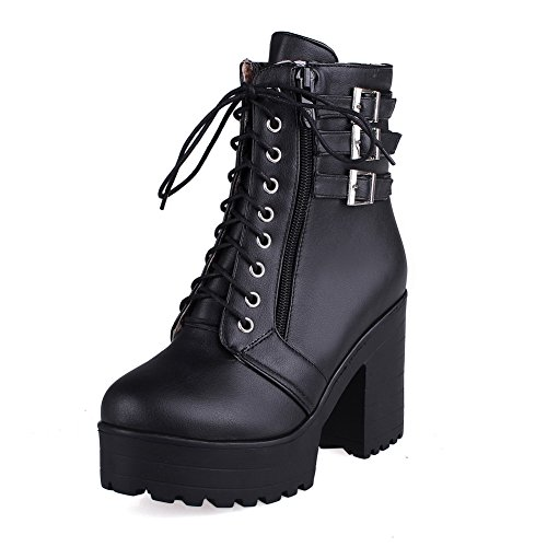 Black Round Women's AmoonyFashion High Toe Top Closed PU Heels Boots Solid Low Z4RRHnqwx