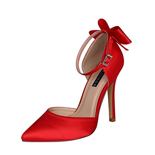 ERIJUNOR E1966A Women High Heel Bow Ankle Strap Evening Party Dance Wedding Satin Shoes Red Size 10