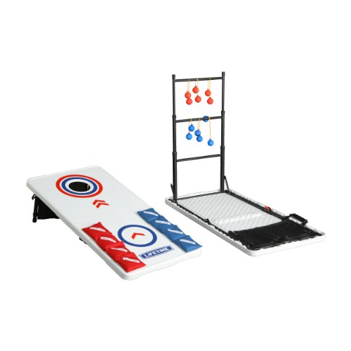 Lifetime Heavy Duty Cornhole, Ladderball Game and Table Combo Set