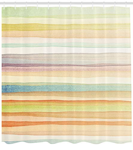 - Ambesonne Pastel Shower Curtain, Horizontal Watercolors Stripes Acrylic Artistic Elements Liquid Brushstrokes Print, Fabric Bathroom Decor Set with Hooks, 75 Inches Long, Pastel Colors