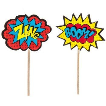 Superhero Cupcake Picks Birthday Party Decoration Party Supplies 24 Count by onlinepartycenter