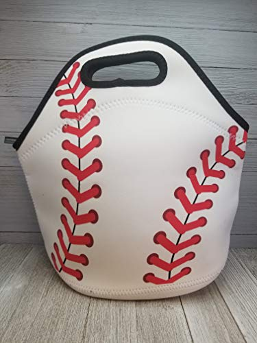 Baseball Neoprene Lunch Tote. Reusable, Insulated, Soft Sided Lunch Bag. Washable. (Striped Cooler)