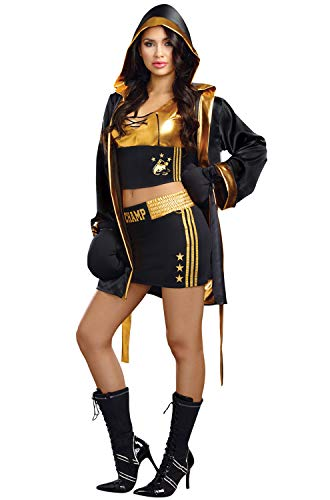 Dreamgirl Women's World Champion Costume, Black/Gold, X-Large (Robe Knockout)