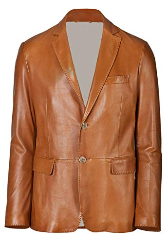- brandMe Men's Leather Two Button Blazer Genuine Soft Lambskin Leather Coat Jacket BB25 (XX-Large (Fit to Chest 46