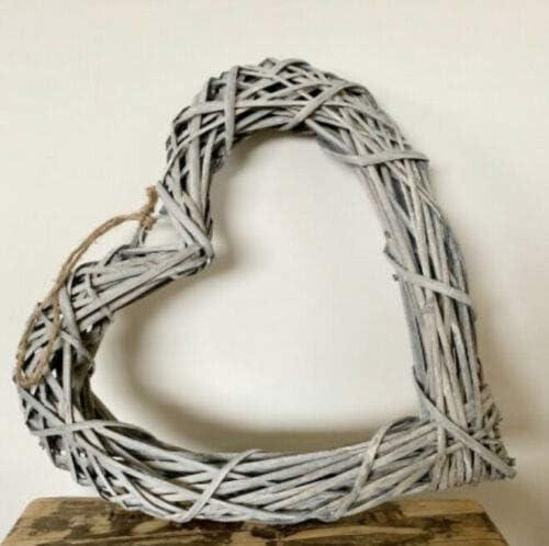 The Look Large 50cm Wicker Heart Grey Wash Wall Art Wreath