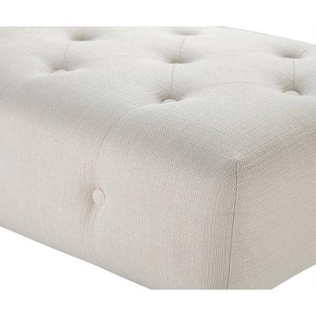 Better Homes and Gardens Traditional Tufted Bench/Ottoman with Turned Wood Legs, Cream (Off White Color)