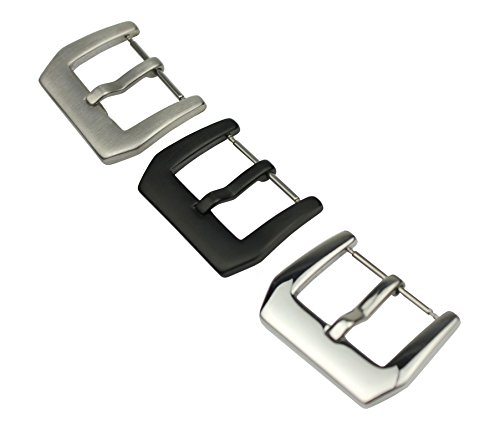 RECHERE Stainless Steel Watch Band Strap Clasp Pin Tang Buckle 18mm 20mm 22mm 24mm