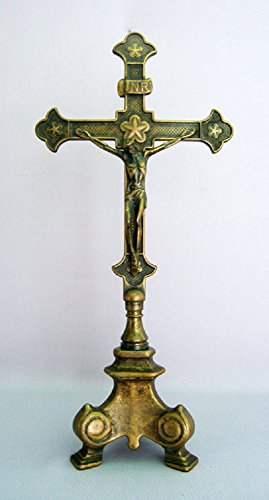 A beautiful Standing Crucifix in antique brass with a heavy three point base, 13inches. Made in Italy. by GSV001