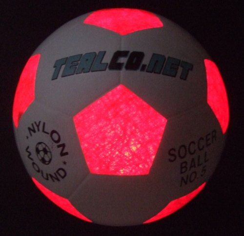 TealCo Light-up Soccer Ball - LED Glow in The Dark Full Size 5 -
