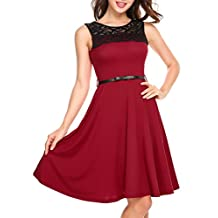 Zeagoo Women's Pleated Lace Neck Cocktail Party A-Line Dress with Belt