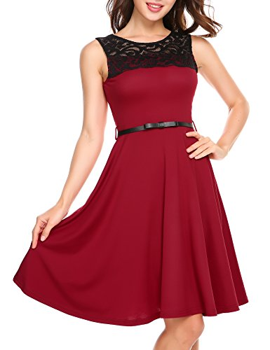 Buy belted lace a line dress - 7