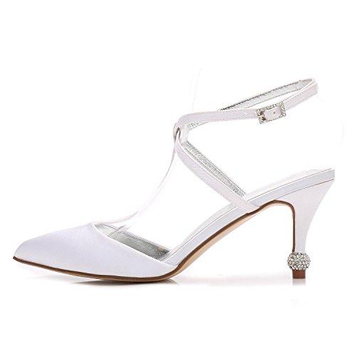 Close Mujeres Satin Wedges 31 L amp; nupciales Red Zapatos de la marfil Prom boda D17767 Satin YC 5AxxXU0