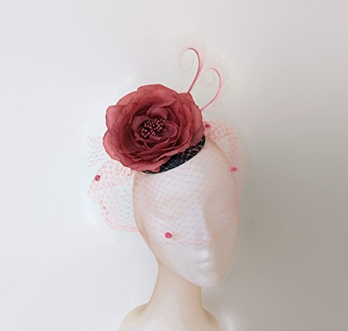 3316ca5cb2e7f Blue and pink fascinator, Pink wedding hats with veil,Pink ascot hat ...
