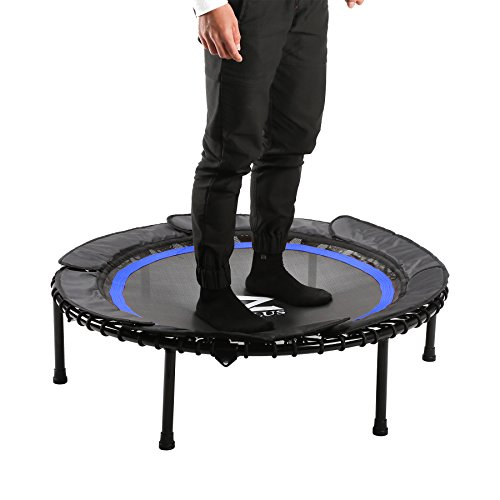 "Cheap Z ZELUS 40"" Foldable Mini Trampoline Bungee Rebounder Trampoline w/Safety Bungee Cover & Textured Jump Mat, Safety & Minimal Assembly (Blue)"