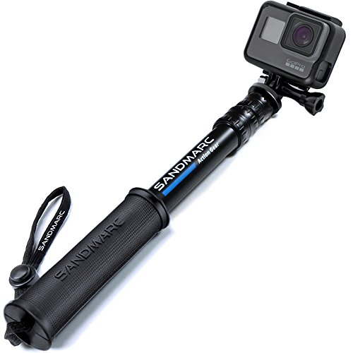 "SANDMARC Pole - Compact Edition: 10-25"" Waterproof Pole (Selfie Stick) for GoPro Hero 7, Hero 6, Hero 5, Hero 4, Fusion, Hero 5 Session, Hero 3+, 3, 2 & HD Cameras - Telescoping and Portable Extension"