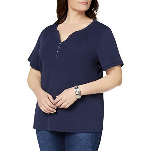 Karen Scott Womens Plus Short Sleeves V-Neck Henley Top Navy 2X (Scott Tops Karen)