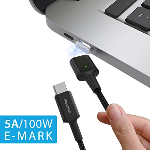 Magnetic USB C Cable for Mac Pro, Maxonar 10PIN 5A 100W Fast Charging Nylon Cord MagSafe to Type C for MacBook Pro, Chromebook Pixel, Samsung S9 and More by Maxonar
