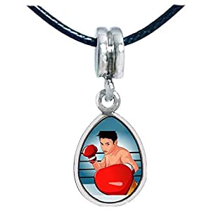 Chicforest Silver Plated Olympics male boxer wear gloves punching Photo Angel Tears Charm Beads Fits Pandora Charm