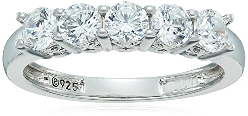 - Platinum-Plated Sterling Silver Round-Cut 5-Stone Ring made with Swarovski Zirconia (1.25 cttw), Size 6
