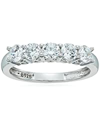 Platinum-Plated Sterling Silver and Swarovski Zirconia Five-Stone Ring (1.25 cttw)