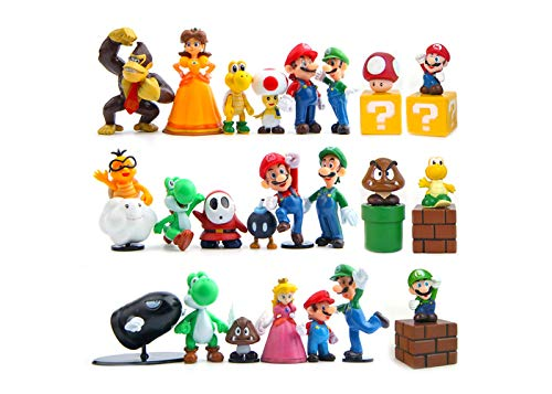 PantShop Super Mario Action Figures – Mario Brothers Toys – Mario Bros Figurines – Set of 23 Mario PVC Toy Figures for Kids & Adults – Premium Cake Toppers – -