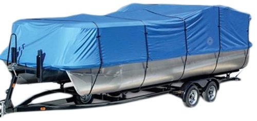 Wake Monsoon Series Pontoon Boat Cover 600D Marine Grade Durapel Polyester Canvas (Blue, Fits 25 to 28-Feet (Beam idt to 104-Inch)