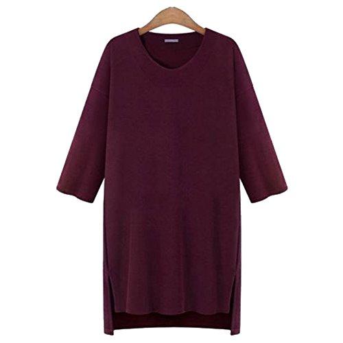 SUNDAYROSE Womens Long Sleeves Plus Size Casual Loose T-shirt Dress Burgundy - Size 4XL