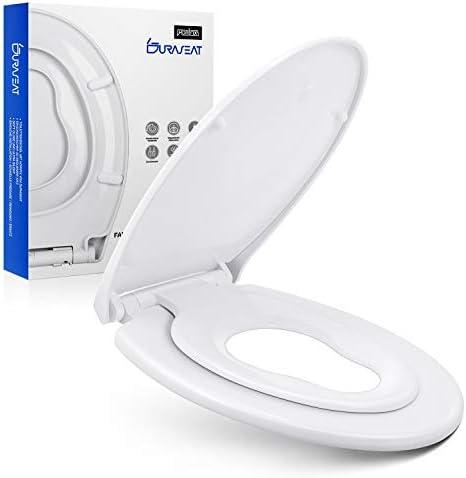 [Gesponsert]DURASEAT® DP003K Premium Toilettensitz mit Kindersitz Integriert O-Form, Familien Toilettendeckel mit Softclose doppelter Absenkautomatik, WC Sitz Family Antibakteriell aus PP und rostfreiem Edelstahl