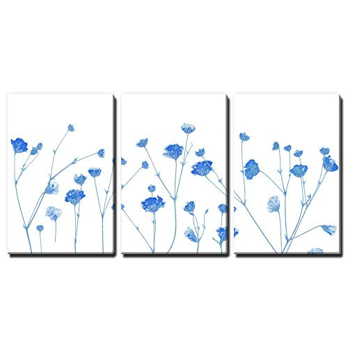 wall26-3 Panel Canvas Wall Art - Small Blue Flowers on White
