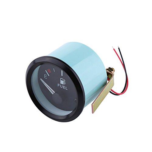 Qiilu Universal Car Fuel Level Gauge LED Digital E-1/2-F Range Meter with Fuel Sensor 52mm