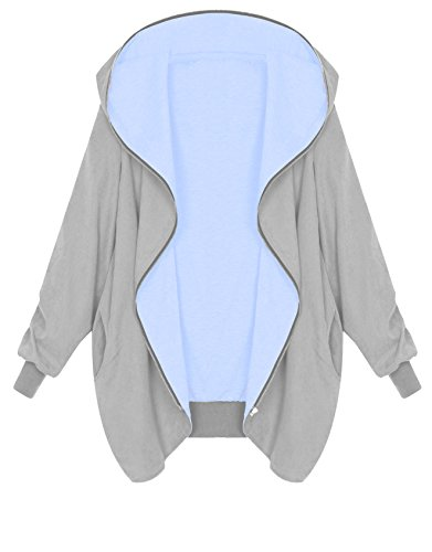 Hellblau Hoodie Cardigan Tunic Hooded Capuche Grande Femme Grau Zipper Fullzipper Zarlena À F7wPBP