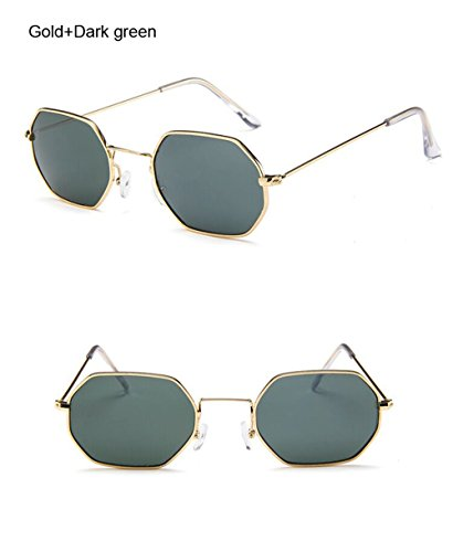 Gafas de hombre Polígono Verde Oro de de de lente gafas gafas bastidor Moda sol pequeño sol transparente Diseñador Mujer Oscuro Vintage sol de metálico hexagonal marca bastidor rrawx0dq