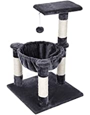 Cat Tree Condo House with Sisal Scratch Posts Kitty Furniture Grey UPCT68G