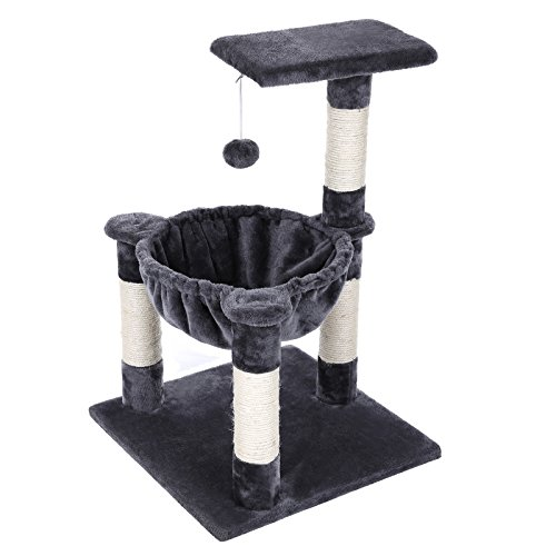 FEANDREA Cat Tree Condo House with Sisal Scratch Posts Kitty Furniture Grey - Post Kitty