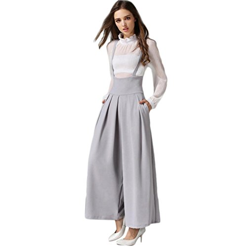 (iTLOTL Women Casual Pleated High Waisted Wide Leg Palazzo Pants Suspenders Trousers(Gray,S))
