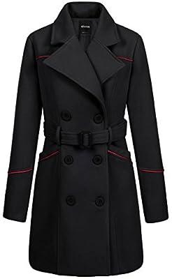 Wantdo Women's Double Breasted Lapel Wrap Coat With Belt