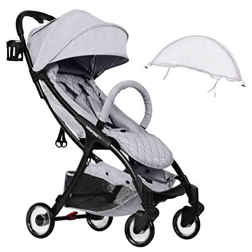 Compact Stroller 2020 Ultra Lightweight Baby Stroller + Universal Mosquito Net Light Grey & White