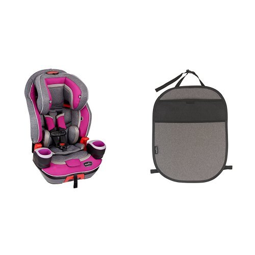 Evenflo Evolve 3-in-1 Combination Seat, Waterfall Mist with Car Seat Kick Mat with Storage Pocket, Black