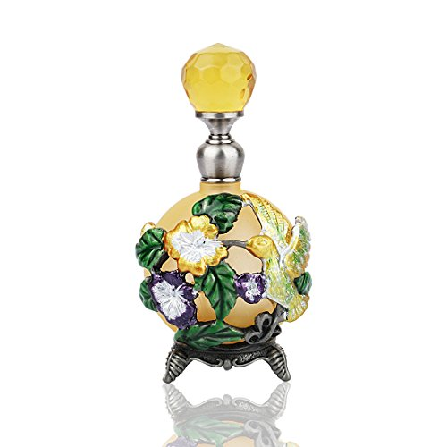 YUFENG Bejeweled Hummingbird & Flowers Perfume Bottle Crystal Enamel Decorative Bottles for Living Room by YUFENG
