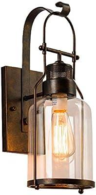 Color : Gray Creative Rural hallway bedroom bedside glass wall lamp retro style bar industrial lighting