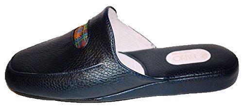 pantoufles dint/érieur en cuir Bleu Fabio 0550 Mules dhiver pour homme