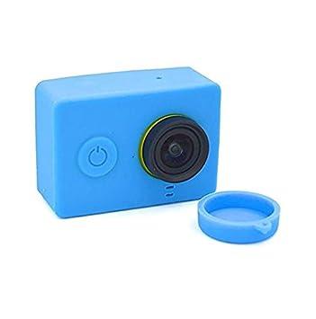 tfxwerws Xiaomi Yi cámara de acción Carcasa de silicona cubierta de lente (azul)