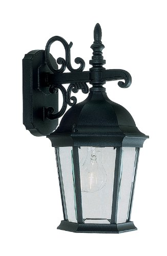 Livex Lighting 7555-04 Hamilton 3 Light Black Cast Aluminum Outdoor Wall Lantern with Clear Beveled Glass